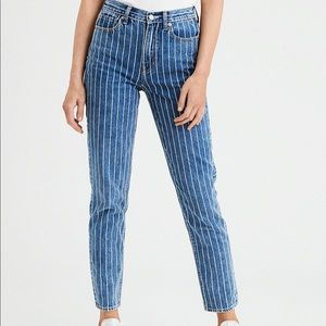 American Eagle • Striped HighRise Skinny Mom Jeans